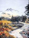 River and mountain in fall